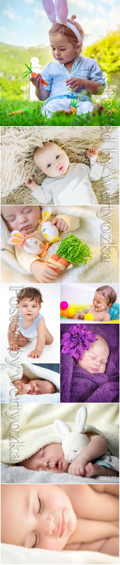 Funny little kids stock photo