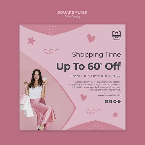 Online shopping square flyer