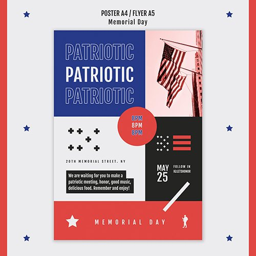 Memorial day poster template
