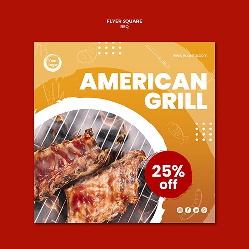 American tasty grill square flyer template