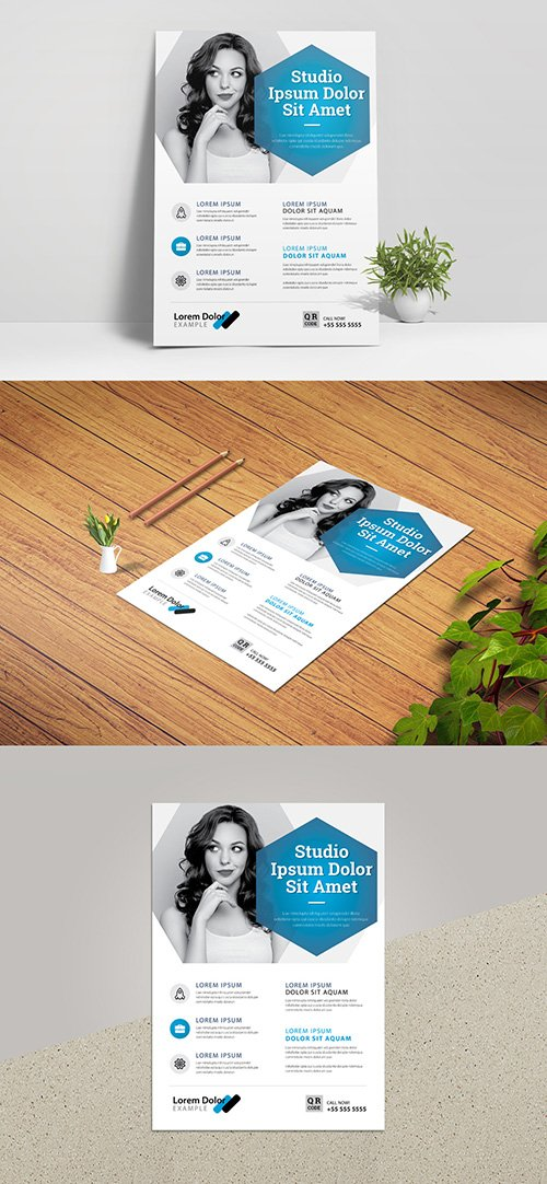 Minimal Business Flyer Layout with Blue Accent 332755273
