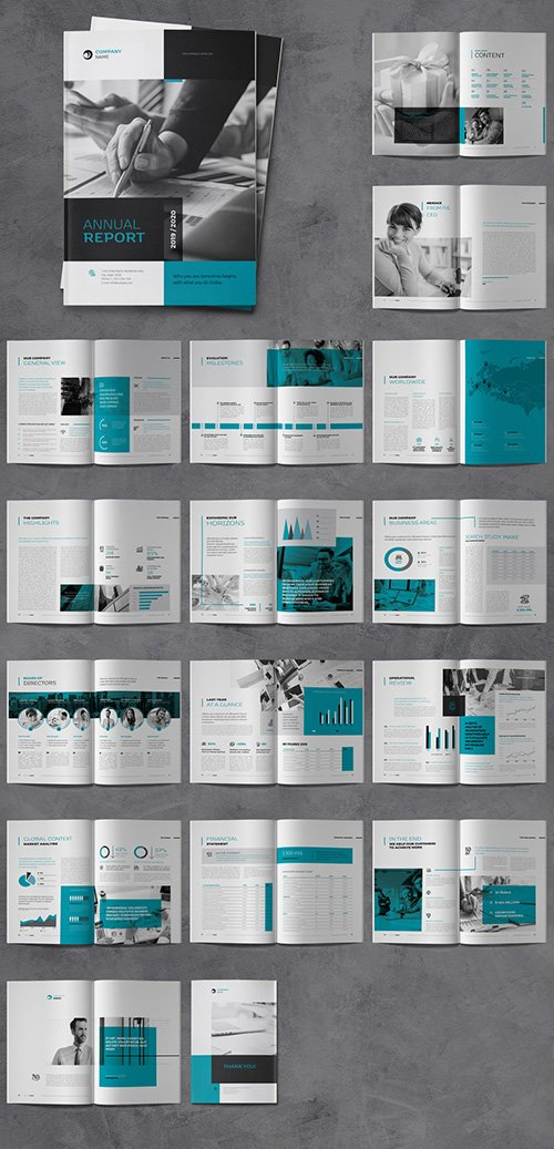 Annual Report Brochure Layout with Blue and Gray Accents 332757590