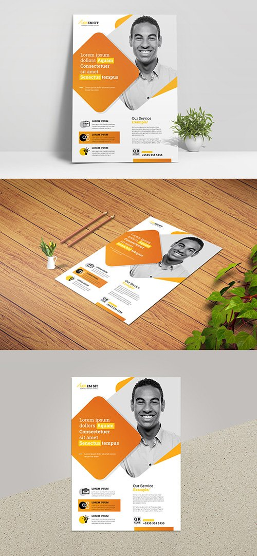 Business Flyer Layout with Yellow Accent 332755290