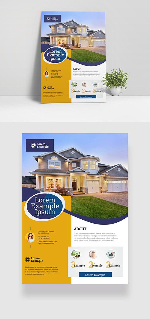 Flyer Layout with Yellow Sidebar Element and Blue Accents 332748638