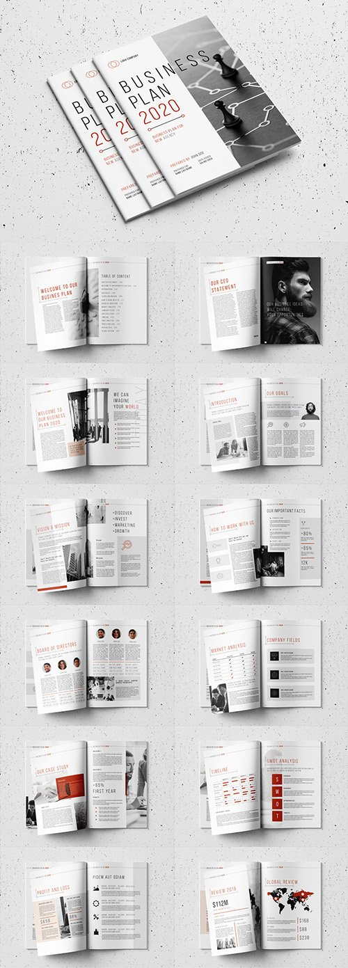 Business Plan Layout with Red Accents 332978192
