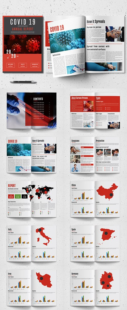 Annual Report Layout with Red Accents and Coronavirus Illustrations 332978186
