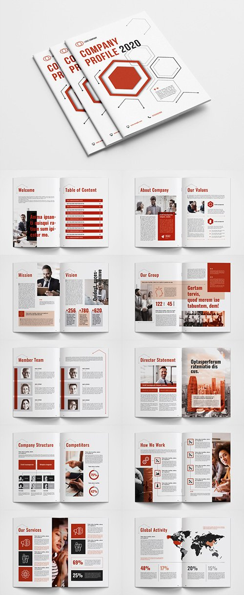 Company Profile Layout with Red Accents 333008740