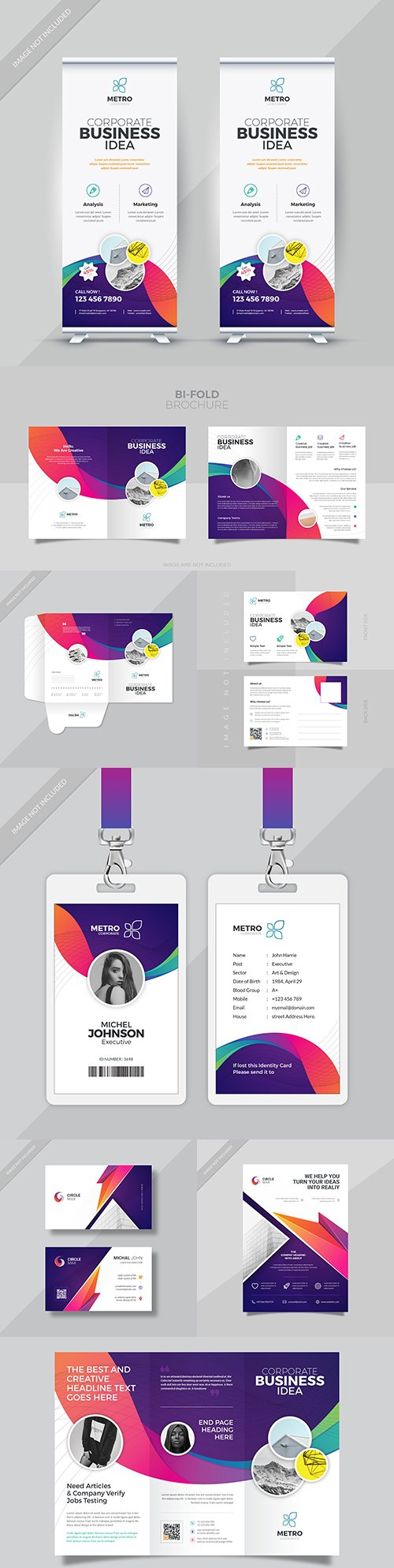 Business set for corporate company template design