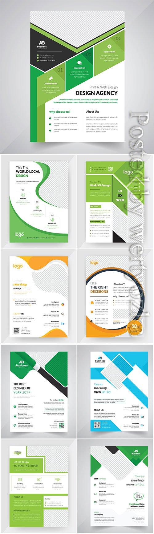 Annual report concept flyer vector, brochure flat design template