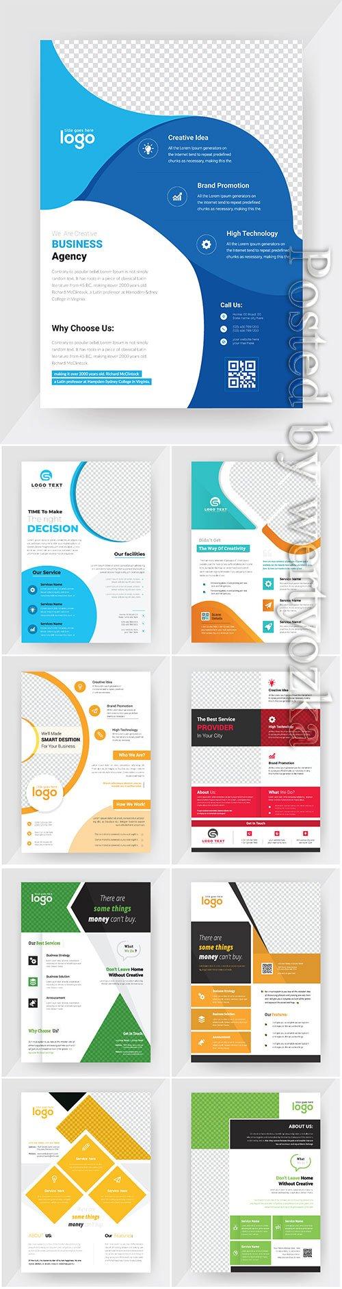 Annual report concept flyer vector template, brochure flat design
