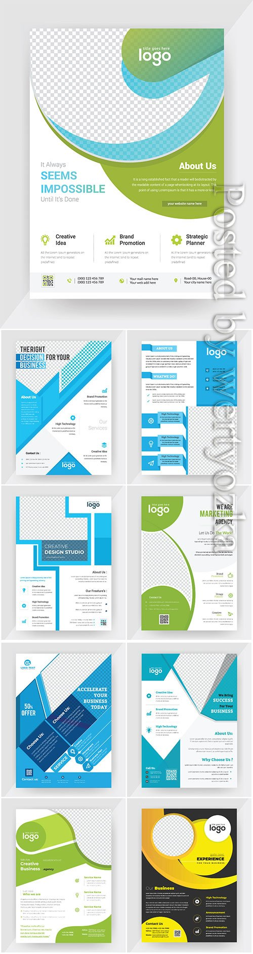 Annual report concept flyer vector template