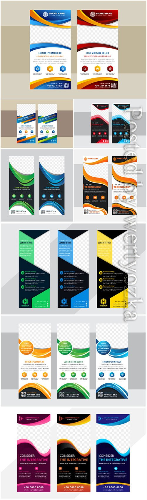 Roll up business brochure, flyer banner design vertical template vector