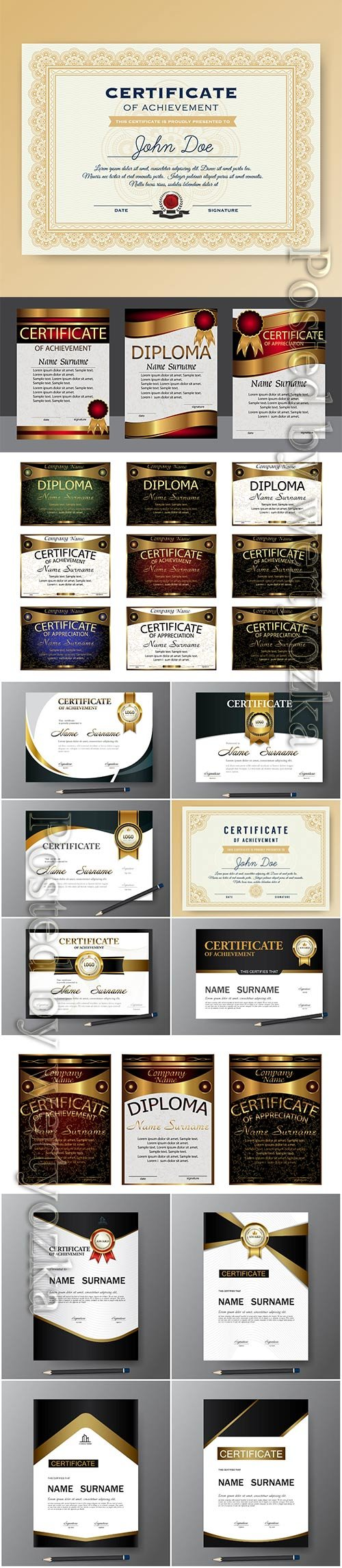 Vector certificate and diploma template