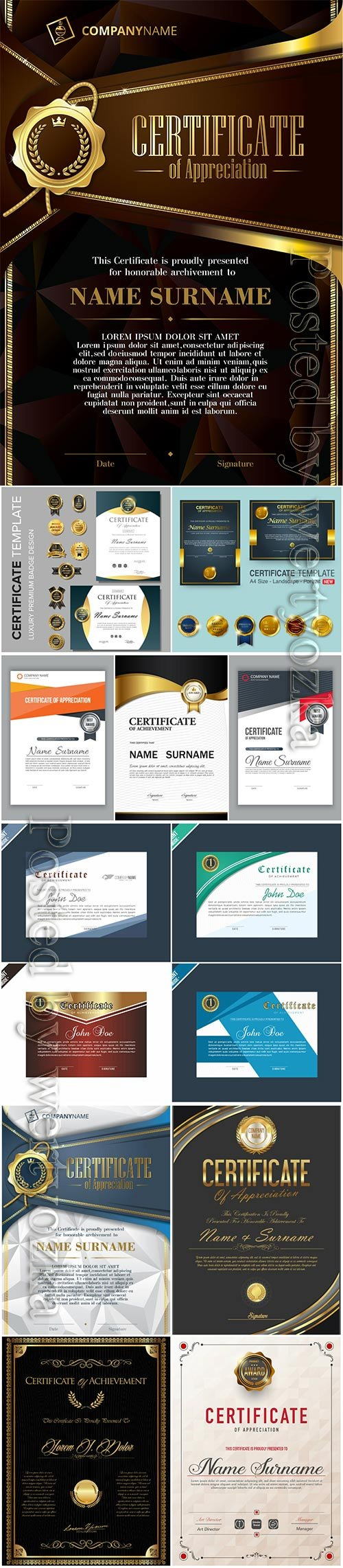 Certificate and vector diploma vintage template