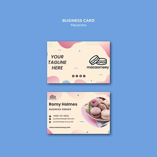 Business cards with macarons