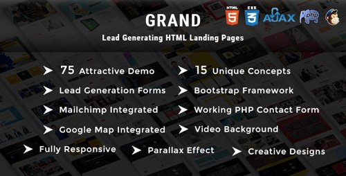 ThemeForest - Grand v1.0 - Lead Generating HTML Landing Pages (Update: 14 February 18) - 21212406