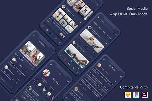 Social Media App UI Kit Dark Mode