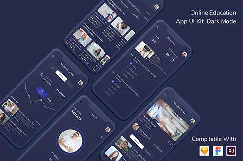 Online Education App UI Kit Dark Mode