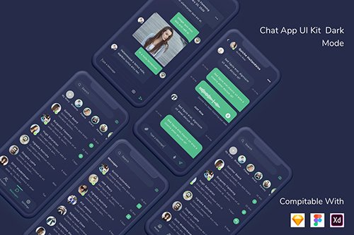 Chat App UI Kit Dark Mode