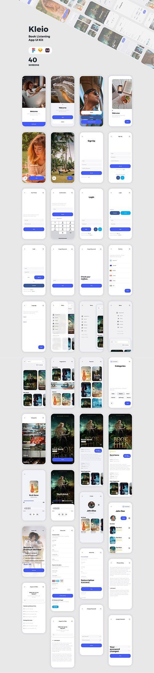 Kleio Book Listening App UI Kit