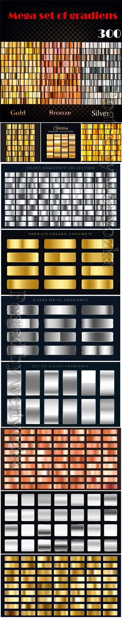Big set of silver or gold gradients