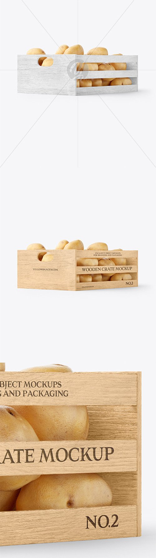 Crate with Potatoes Mockup - Half Side View 60646 TIF