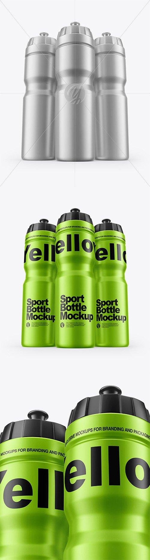 Three Matte Metallic Sport Bottles Mockup 60137 TIF