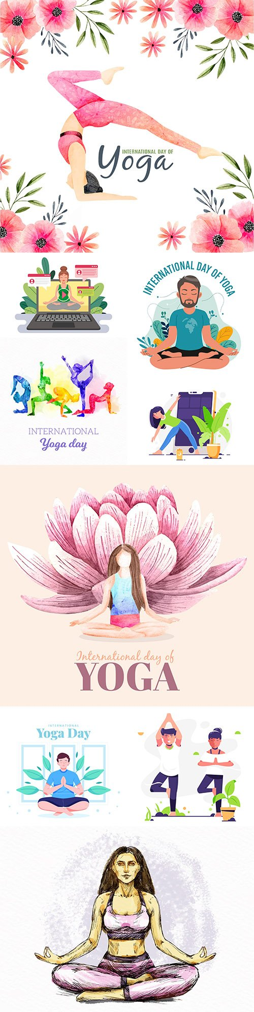 Yoga International day and meditation design illustration 5