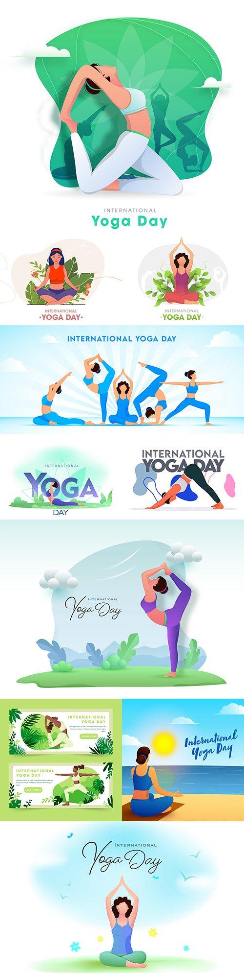 Yoga International day and meditation design illustration 6