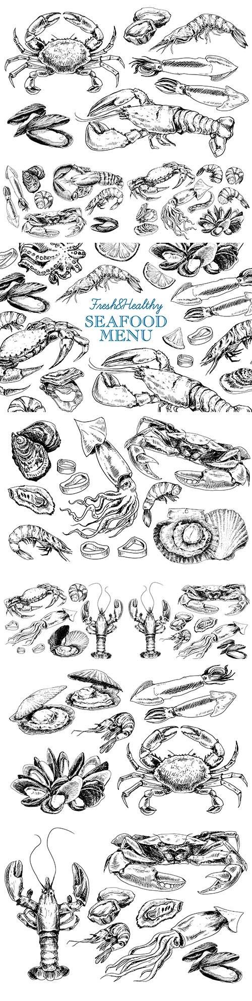 Vintage seafood menu in illustration sketch style