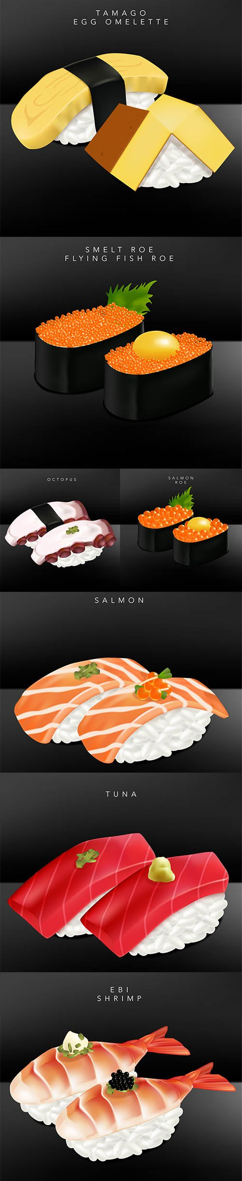 Japanese Dining Sushi Realistic Vector Illustration