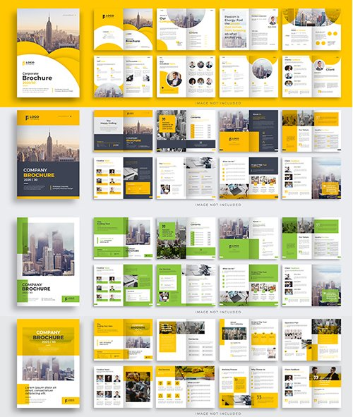 Multipage brochure Vector template layout