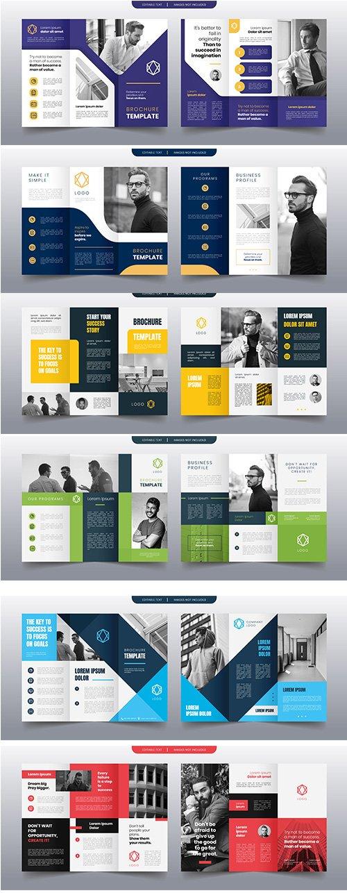 Modern trifold business brochure Vector template