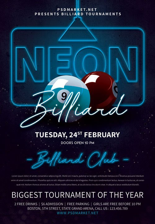 Neon billiard night - Premium flyer psd template