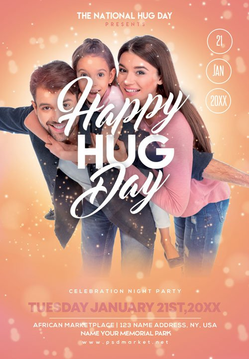 Hugging day - Premium flyer psd template
