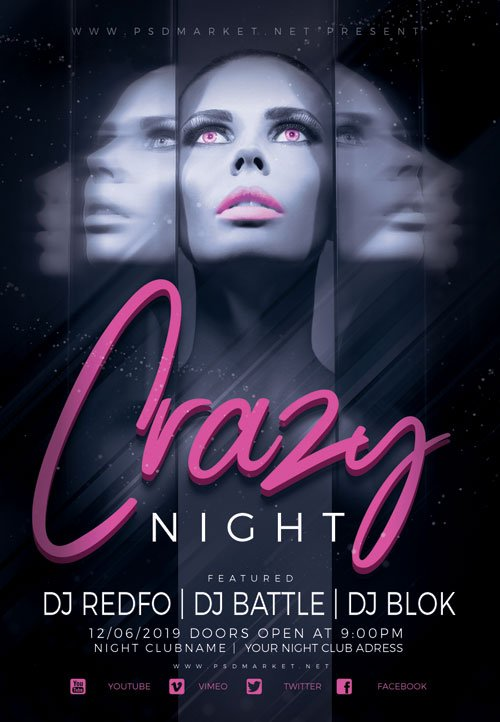 Crazy night - Premium flyer psd template