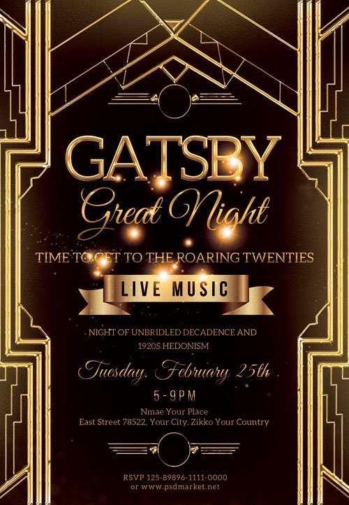 Gatsby great night - Premium flyer psd template