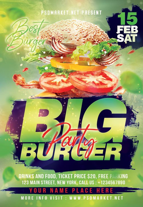 Burger party - Premium flyer psd template