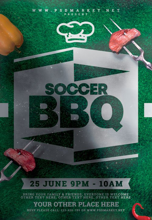 Soccer bbq event - Premium flyer psd template