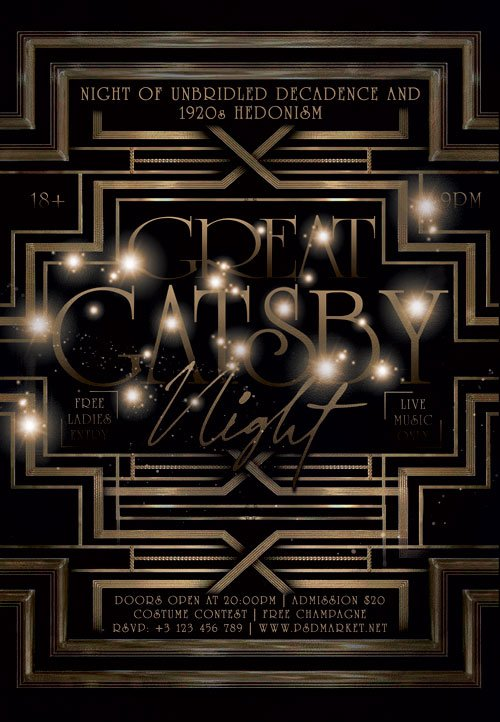 Great gatsby night - Premium flyer psd template
