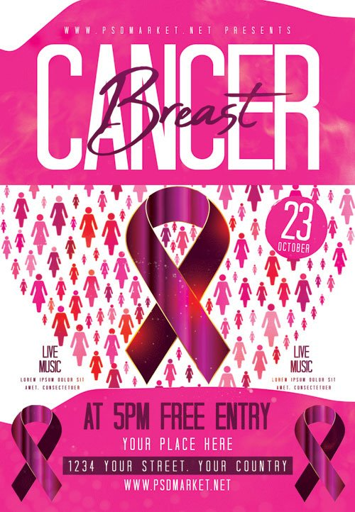 Breast cancer day - Premium flyer psd template