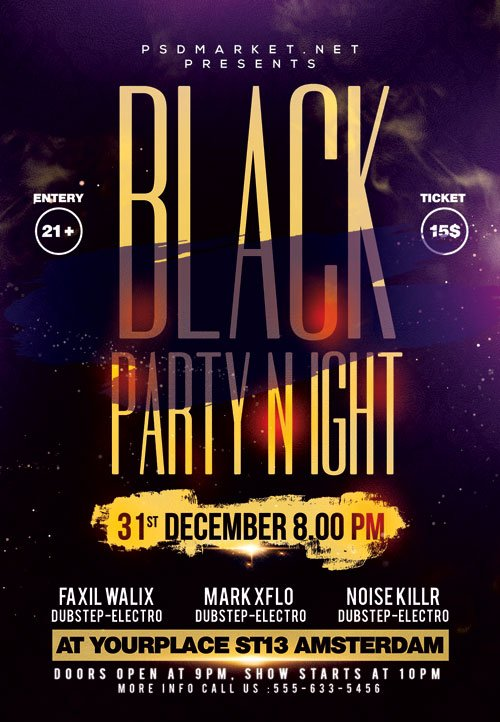 Black party night event - Premium flyer psd template