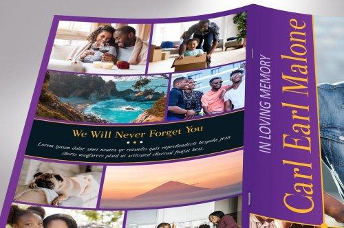 CreativeMarket - Purple Gold Funeral Program Word 4pg 4613025