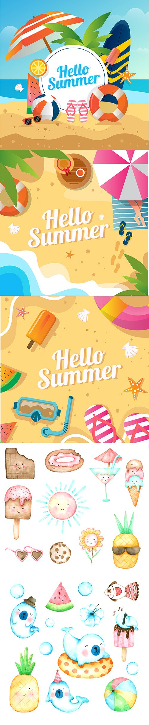 Summer Backgrounds Concept and Cartoons Ice and animals