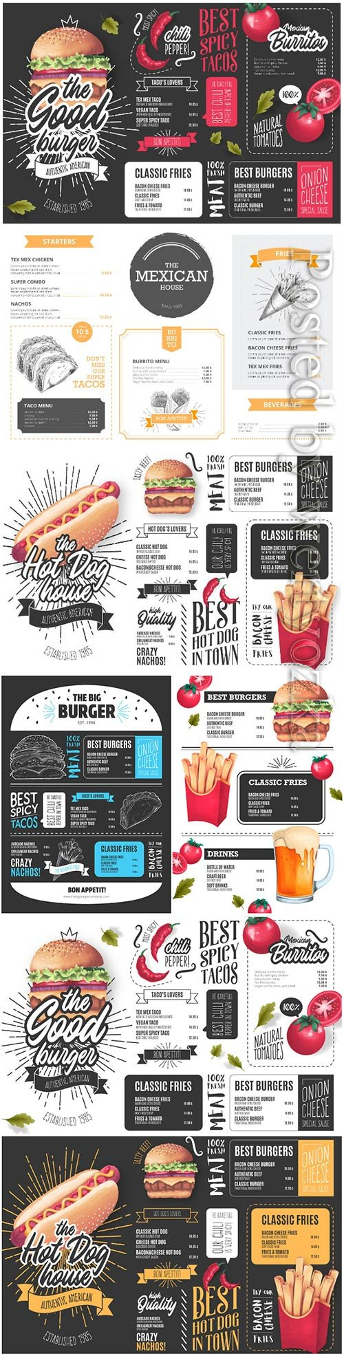 Vector restaurant menu template with illustrations