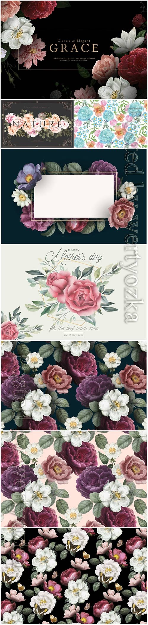 Beautiful vector backgrounds with roses and flowers
