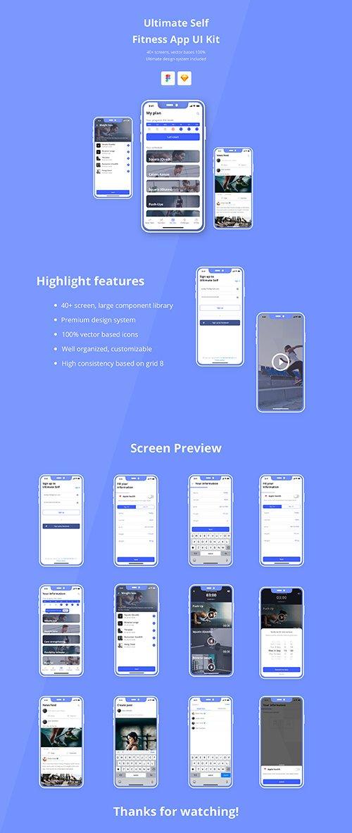 Ultimate Self Fitness App UI Kit