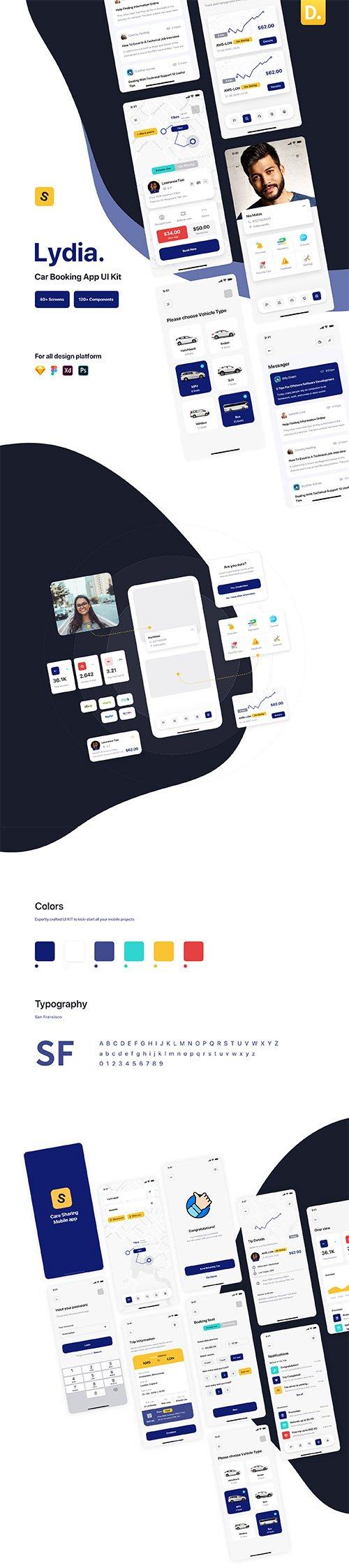 Lydia - Car Booking & Sharing Mobile App UI Kit
