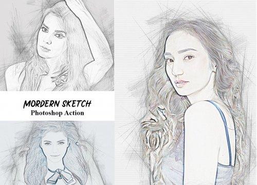 CreativeMarket - Modern Sketch Photoshop Action 4934546