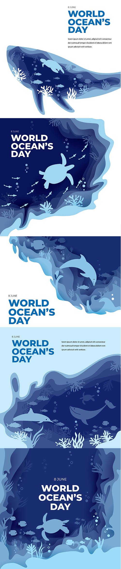 World oceans day paper art flat greeting card
